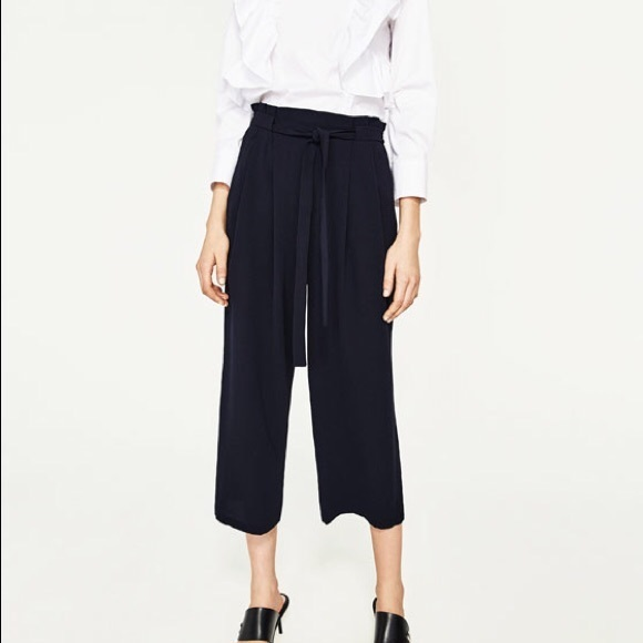 95a5b276 Zara Pants | Wide Leg Crop Crepe Culottes W Belt Tie | Poshmark